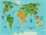 Animal world. Funny cartoon map