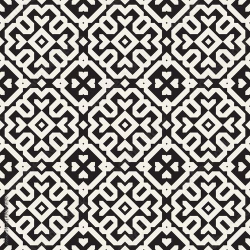 Vector Seamless Black And White Ethnic Geometric Blocks Pattern - 96570198