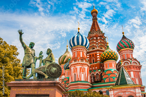 Poster St. Basils cathedral on Red Square in Moscow, Russia