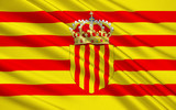 Flag Senyera - pattern is nowadays in the flag of four Spanish a