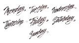 Modern brush calligraphy. Week days.