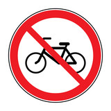 Bicycle prohibition sign. No bikes or no parking icon in the red circle isolated on white background. Illustrations of prohibiting warning symbol for bicyclists. No bikes allowed sign. Stock Vector