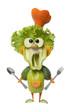 Funny vegetable cook with fork and spoon