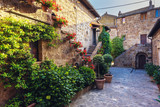 Fototapety Stairs with colorful flowers in a Tuscan old town