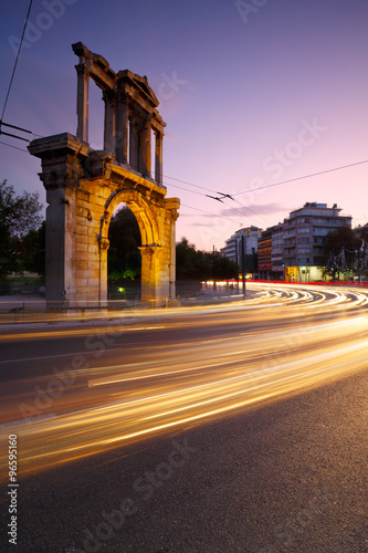 Arch of Hadrian and Leoforos Vasilisis Amalias street in Athens.
