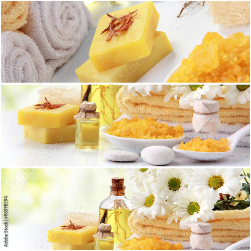 Juliste yellow spa concept collage. soap and essensials spa objects