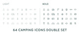Set of Thin and Bold Vector Hunting Camping Sport Elements Illustration can be used as Logo or Icon in premium quality