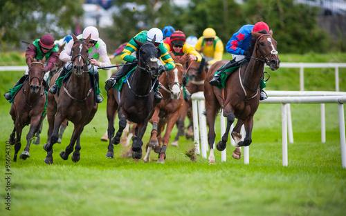 intense horse race action