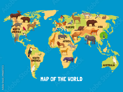 Staande foto Wereldkaart Animals World Map