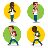 set of cheerful schoolboys. Vector illustration.