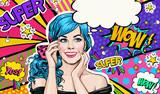 Fototapety Pop Art illustration of blue head girl on Pop art  background.Pop Art girl. Party invitation. Birthday greeting card. Advertising poster. Comic woman. Romantic girl hiding her face.
