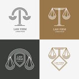 Set of vector line style vintage law firm logo design template.