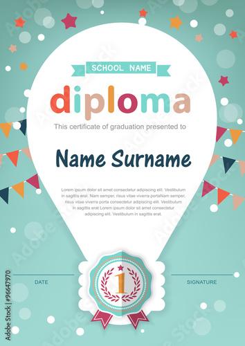 preschool kids diploma certificate background design template buy
