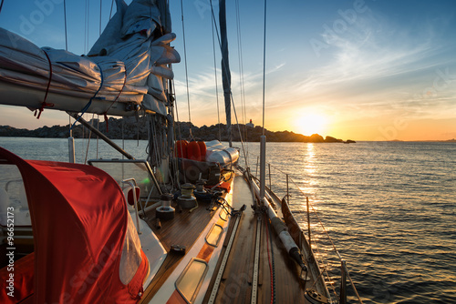 Plakat sunset from sail boat