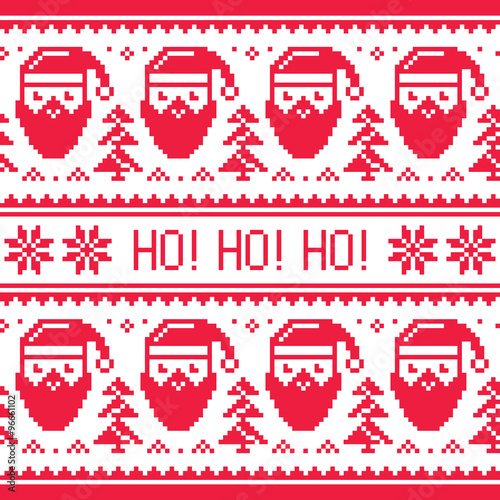 Materiał do szycia Christmas seamless red pattern with Santa and snowflakes