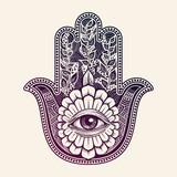 Hamsa. hand of Fatima, good luck symbol