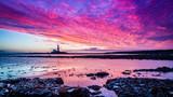 Sunrise at St. Mary's Lighthouse on the Northumberland coast, England
