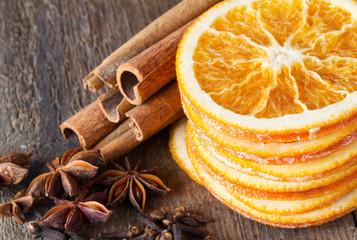 cinnamon sticks, anise and dried orange slices