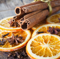 cinnamon sticks, anise and dried orange slices