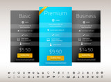 Modern pricing list with 3 options in turquoise and black colors. Set of icons included