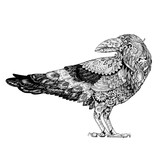 Tattoo, dotwork Raven in the style of steampunk - 96682176