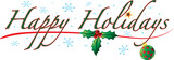Colorful text with images that says Happy Holidays  - 96697153