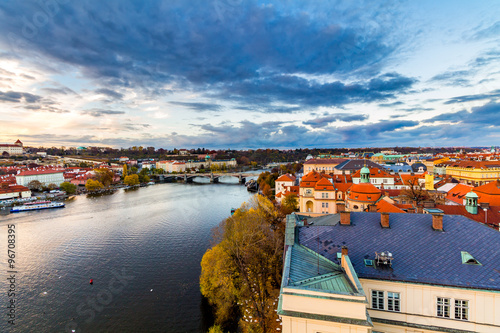 Foto op Canvas Scenic summer aerial view of the Old Town architecture with terracotta roofs in Prague , Czech Republic