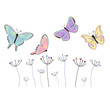 olorful butterflies abstract spring flowers vector background
