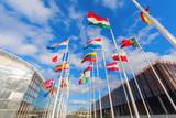 europäische Flaggen auf dem Kirchberg in Luxemburg - 96718198