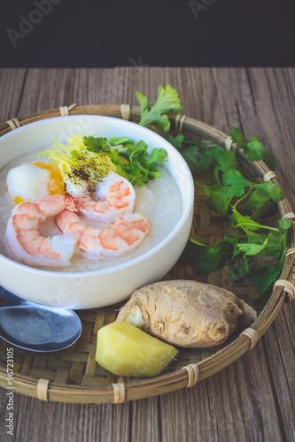 Rice porridge with shrimp and egg vintage tone thai for Antique thai cuisine