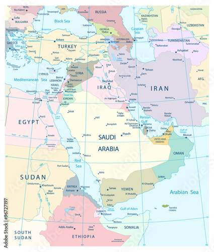Map of Middle East and Southwest Asia. | Buy Photos | AP Images ...