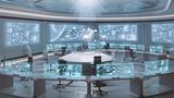 Fototapety 3D rendered empty, modern, futuristic command center interior