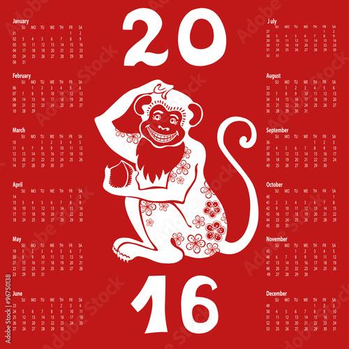 "500 x 500 jpeg 137kB, Calendar 2016.Chinese zodiac monkey"" Stock image ..."