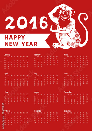 """Calendar 2016.Chinese zodiac monkey.Vertical"""" Stock image and royalty ..."""