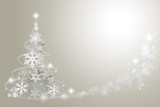 Fototapety Abstract Christmas tree from snowflakes on grey background