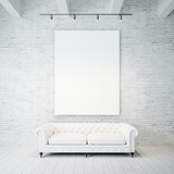 Fototapety Photo of empty canvas on the brick wall background and vintage classic sofa. 3d render