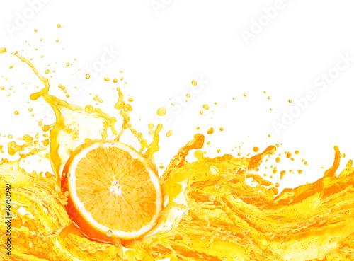 Orange juice splashing with its fruits isolated on white - 96758949