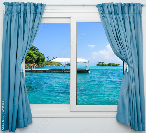 Fototapeta window view sea