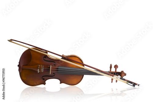 Staande foto Muziekwinkel Vintage , old violin on White background.