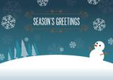 Fototapety Winter Wonderland - snowflake background with snowman illustration