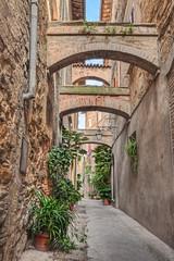 Fototapeta starej alei w Bevagna, Umbria, Włochy