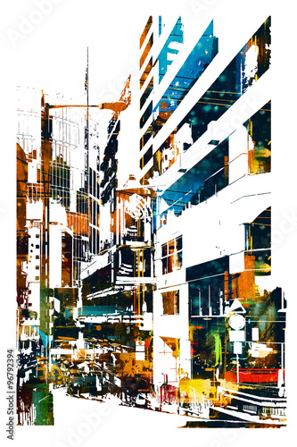 modern urban city,illustration painting - 96792394