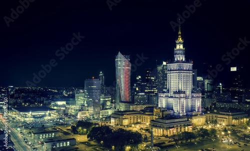 Fototapeta Warsaw downtown at night