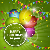 Fototapety Happy Birthday greeting card. Party balloons, confetti and colorful flags.