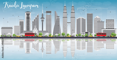 Poster Kuala Lumpur Skyline with Gray Buildings and Reflections