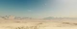Sandy desert landscape with blue sky. - 96828160