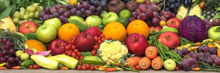 Tropical fresh fruits and vegetables for healthy