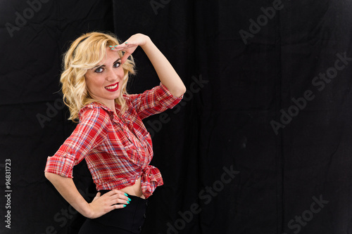 """Young girl, pin up typical American."" Stock photo and ..."