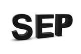 SEP Black 3D Text - September Month Abbreviation on White