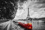 Eiffel Tower over Seine river in Paris, France. Vintage - 96836193